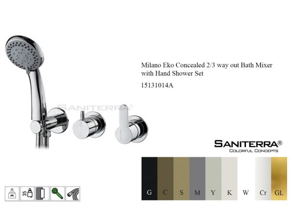 15131014A Concealed 2/3 Way out Bath Mixer with Hand Shower Set EKO